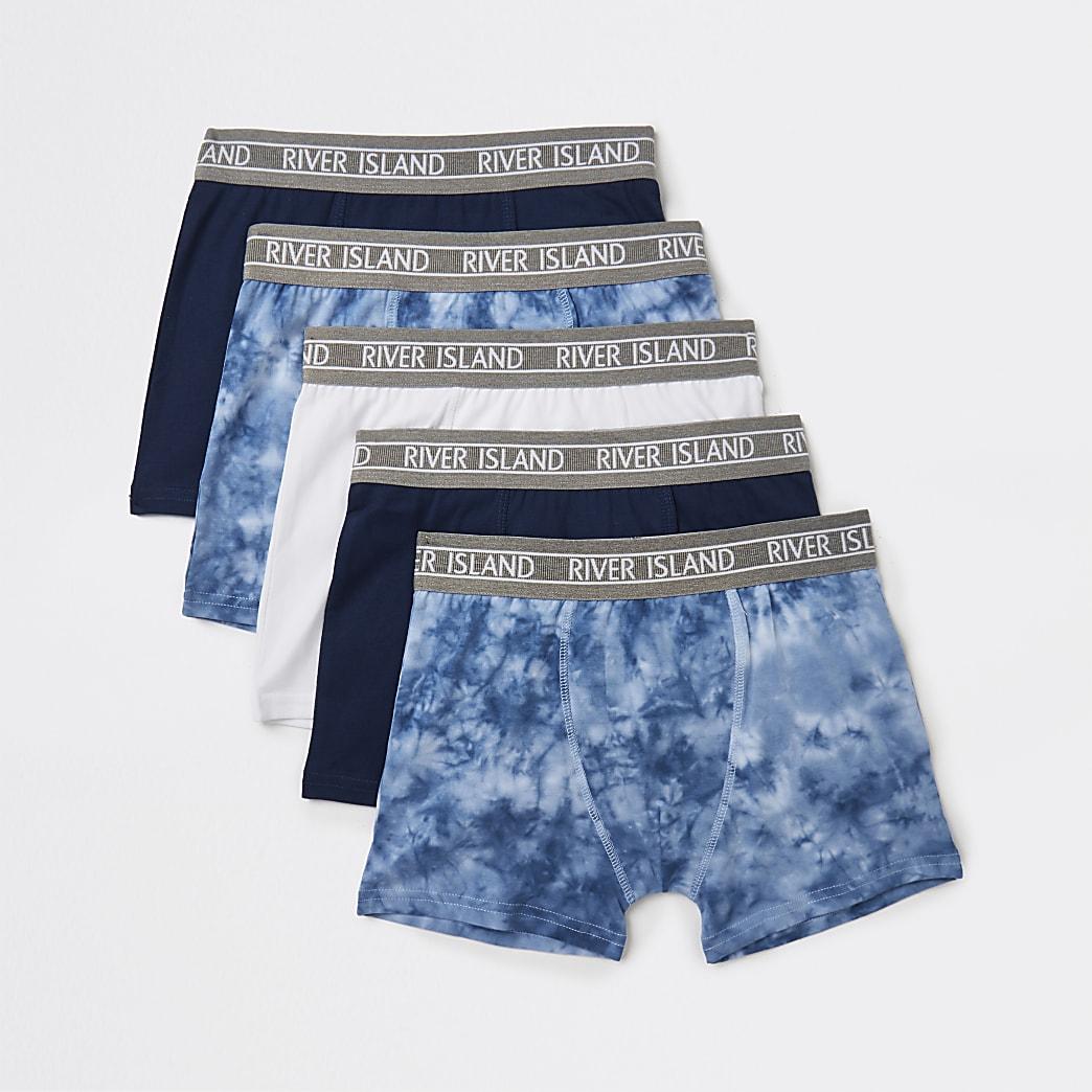 Age 13+ boys blue tie dye boxers 5 pack