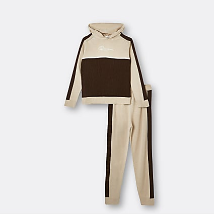 Age 13+ boys brown RI hoodie and joggers se