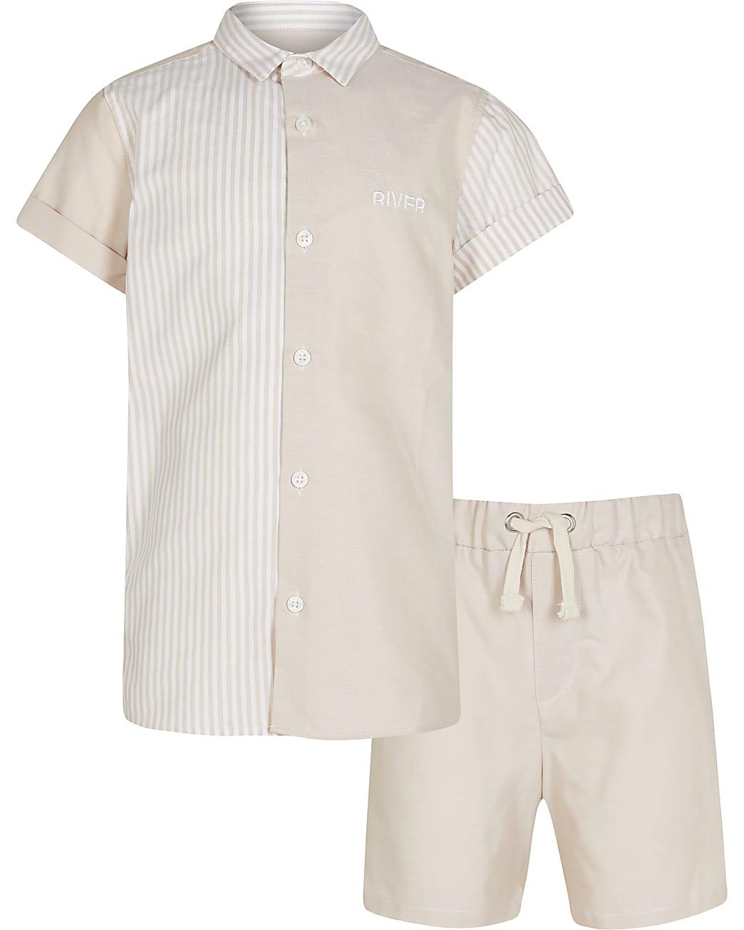 Age 13+ boys cream stripe polo shirt outfit