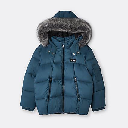 Age 13+ boys green hooded puffer coat