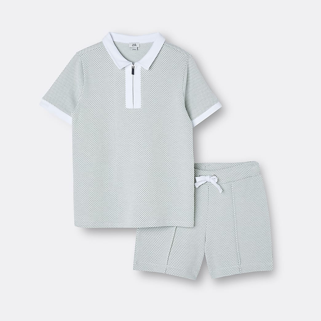 Age 13+ boys green polo shirt and shorts set