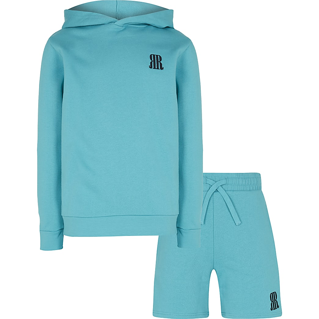 Age 13+ boys green RR hoodie and shorts set