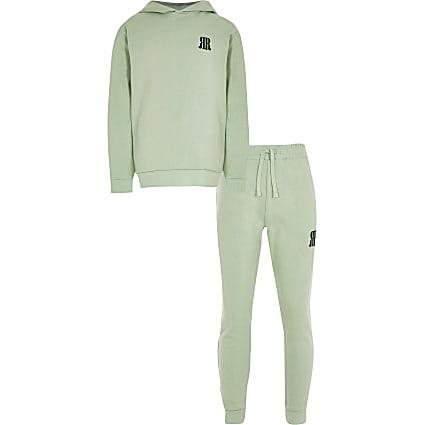 Age 13+ boys green RR logo hoodie set