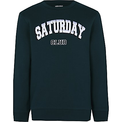 Age 13+ boys green 'Saturday club' sweatshirt