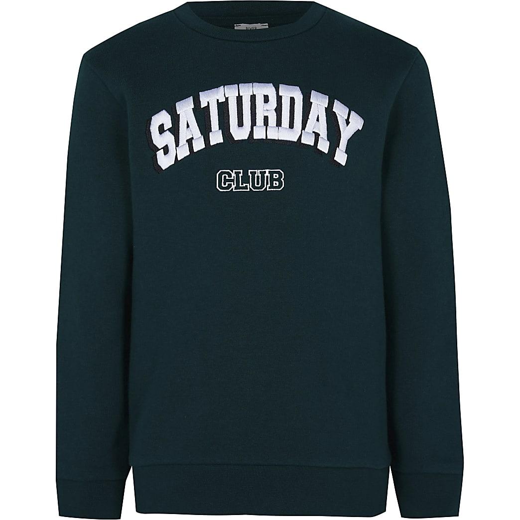 Age 13+ boys green 'Saturday club' sweatshirt