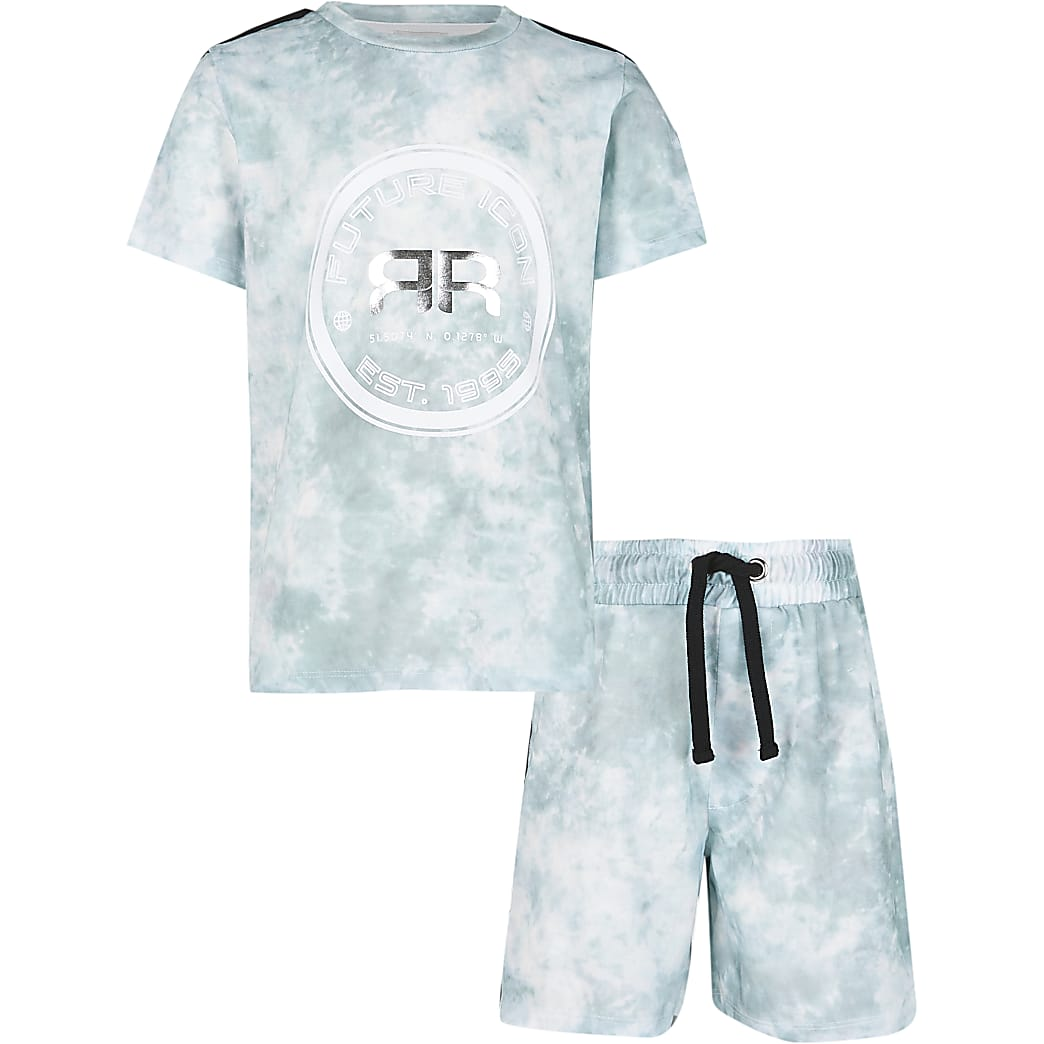 Age 13+ boys green tie dye t-shirt and shorts
