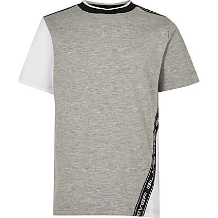 Age 13+ boys grey RI colour block t-shirt