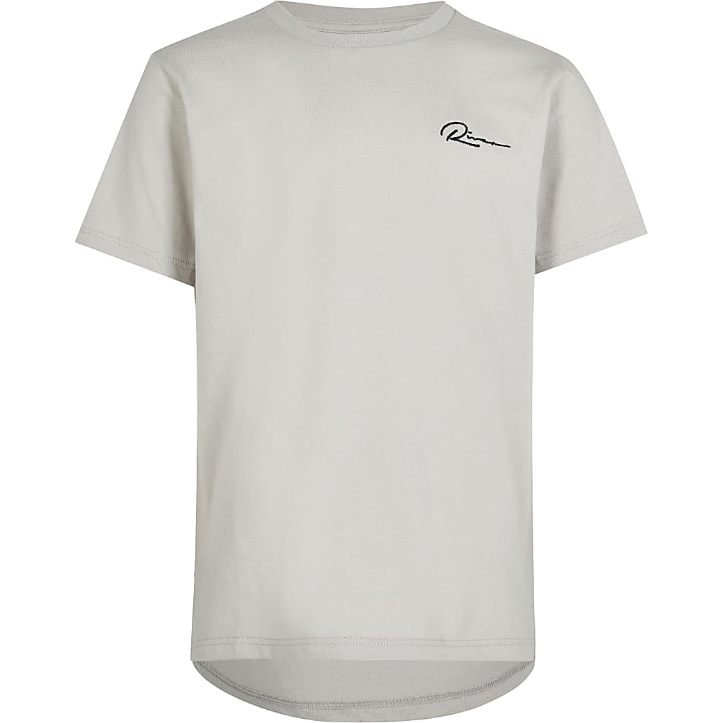 Age 13+ Boys grey 'River' curved hem t-shirt