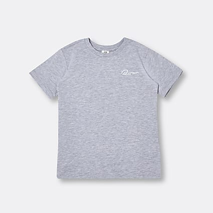 Age 13+ boys grey 'River' embroidered t-shirt
