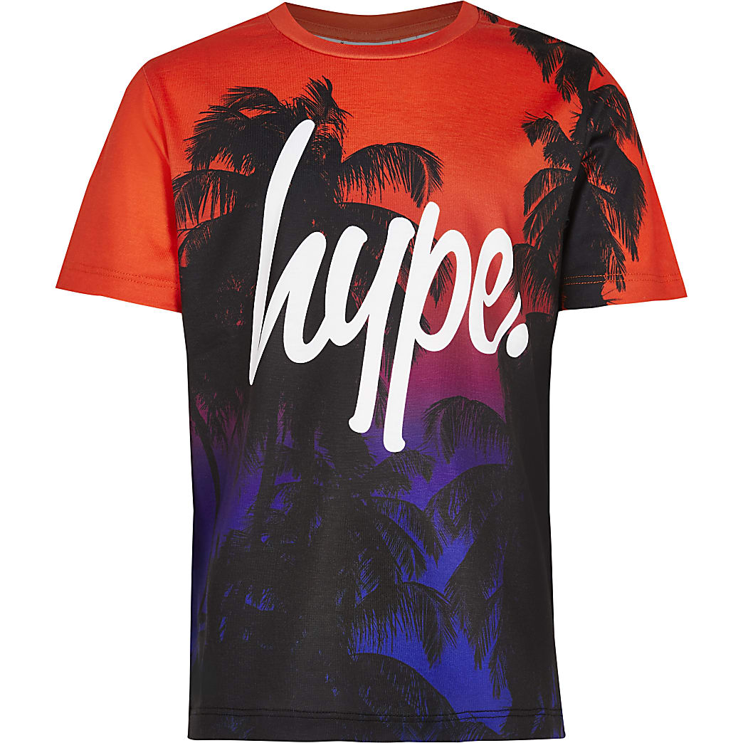 Age 13+ boys Hype black sunset palm t-shirt