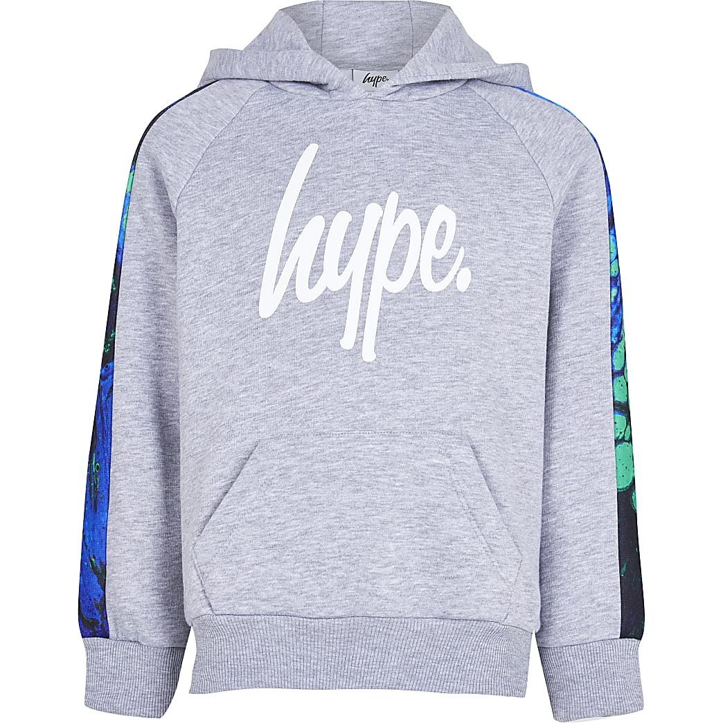 Age 13+ boys Hype grey neon marble hoodie