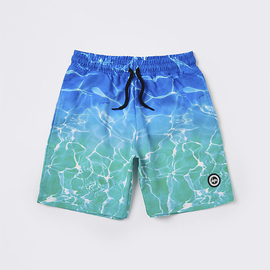 Age 13+ boys Hype turquoise pool fade shorts