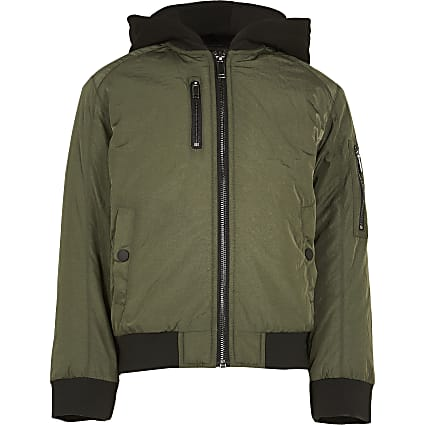 Age 13+ boys khaki hooded bomber jacket