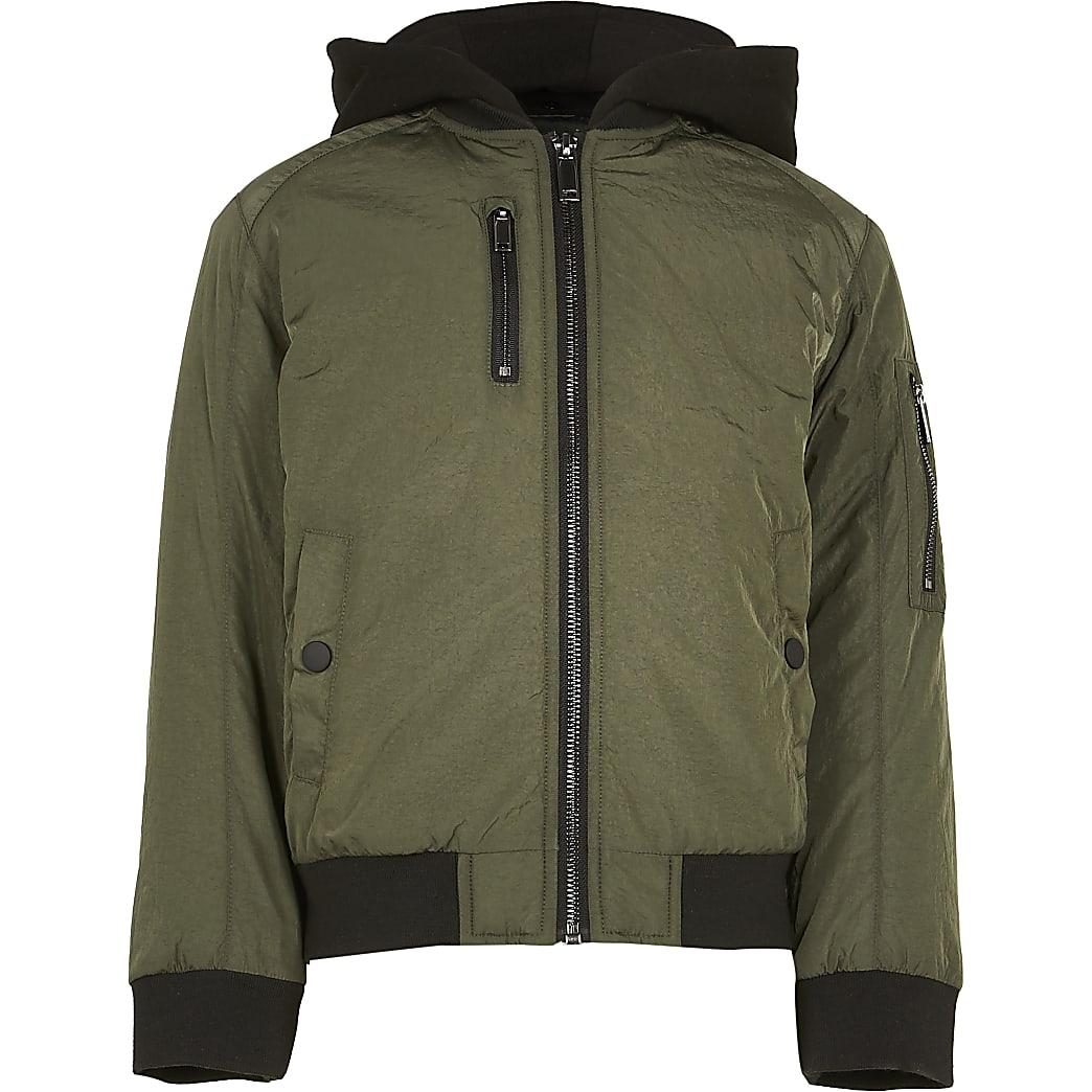 Age 13+ boys khaki hooded bomber jacket