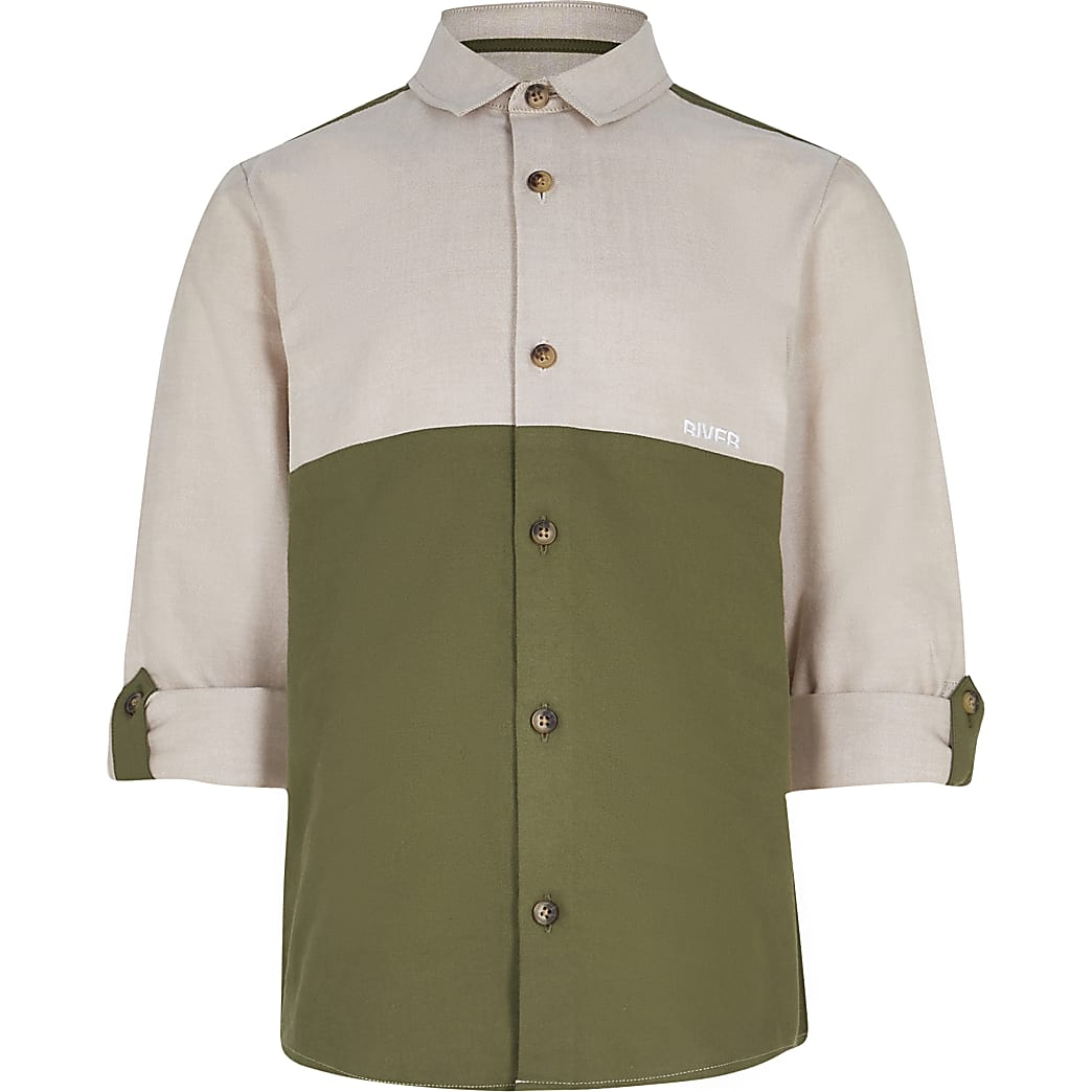 Age 13+ boys khaki roll sleeve shirt