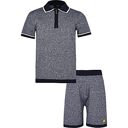 Age 13+ boys navy polo shirt and shorts set
