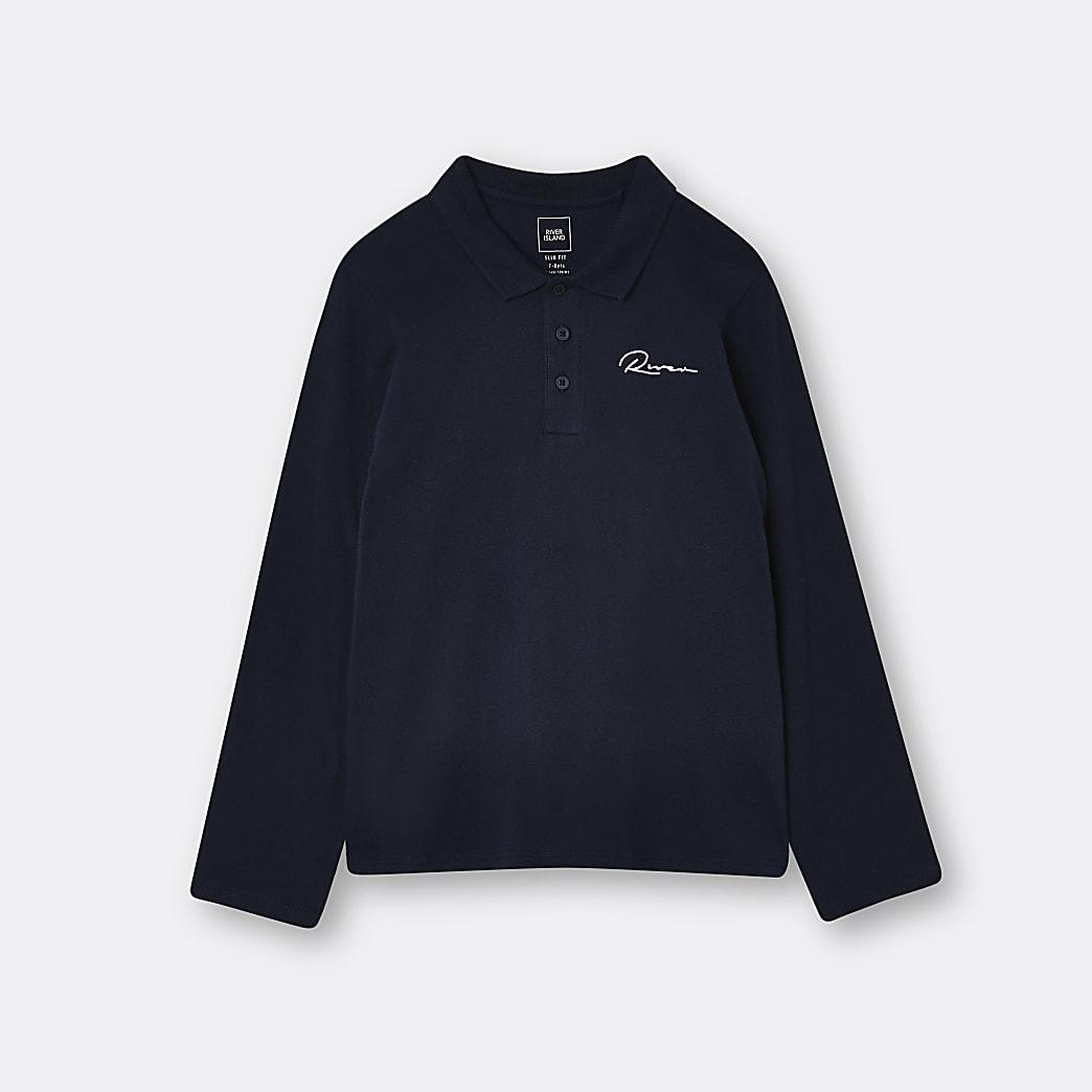 Age 13+ boys navy River polo shirt