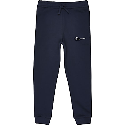 Age 13+ boys navy 'River' printed joggers