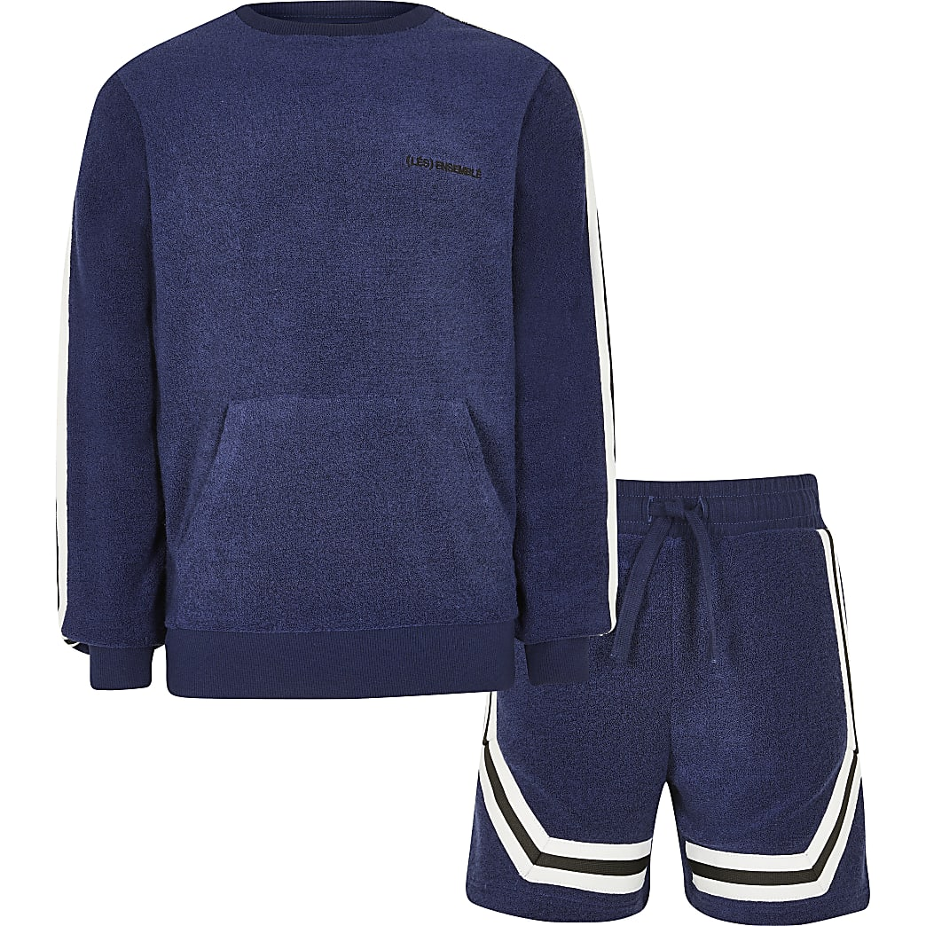 Age 13+ boys navy towelling sweatshirt outfit