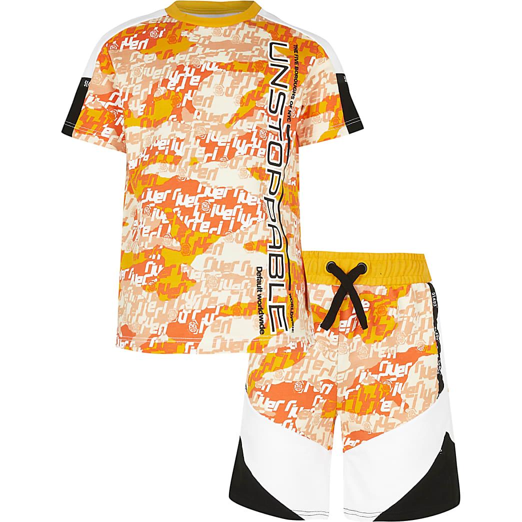 Age 13+ boys orange camo shorts outfit