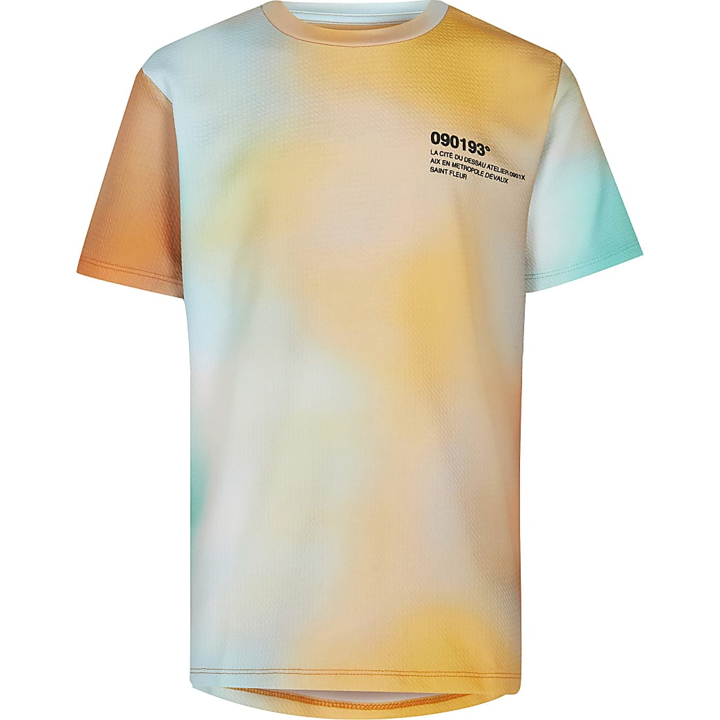 Age 13+ boys orange ombre textured t-shirt