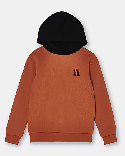 Age 13+ boys orange RR logo hoodie