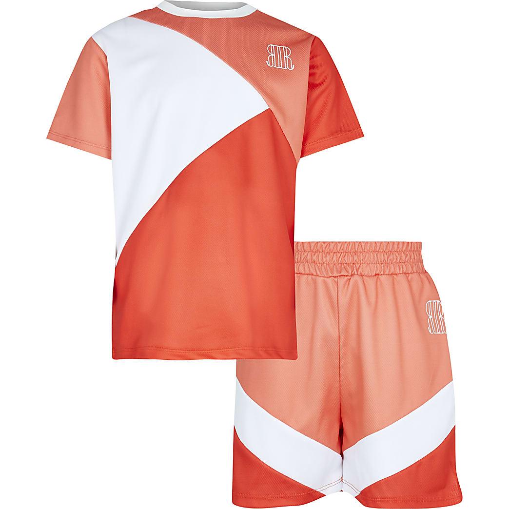 Age 13+ boys orange t-shirt and shorts set
