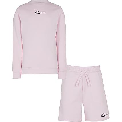 Age 13+ boys pink sweatshirt and shorts set