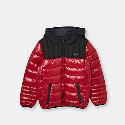 Age 13+ boys red hooded puffer coat