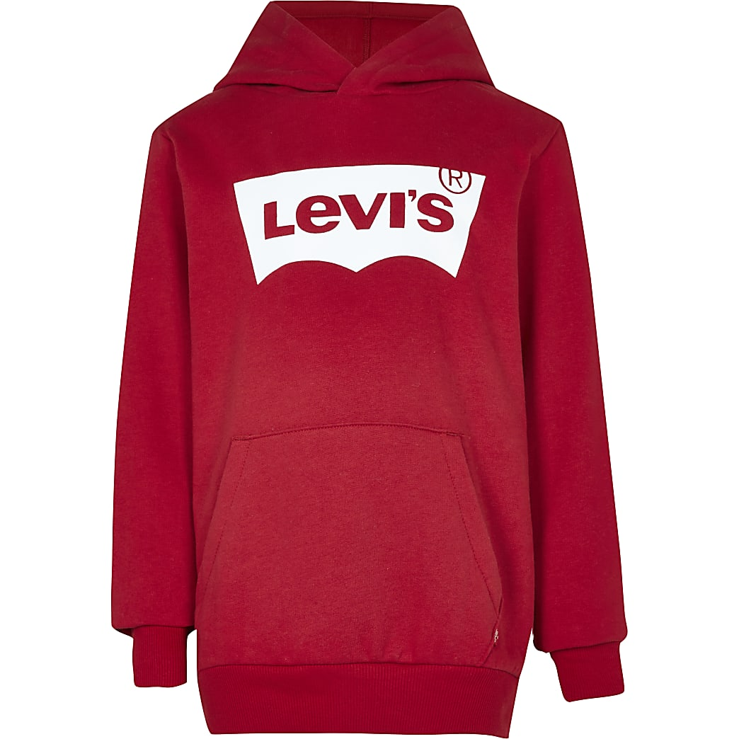 Age 13+ boys red Levi's long sleeve hoodie