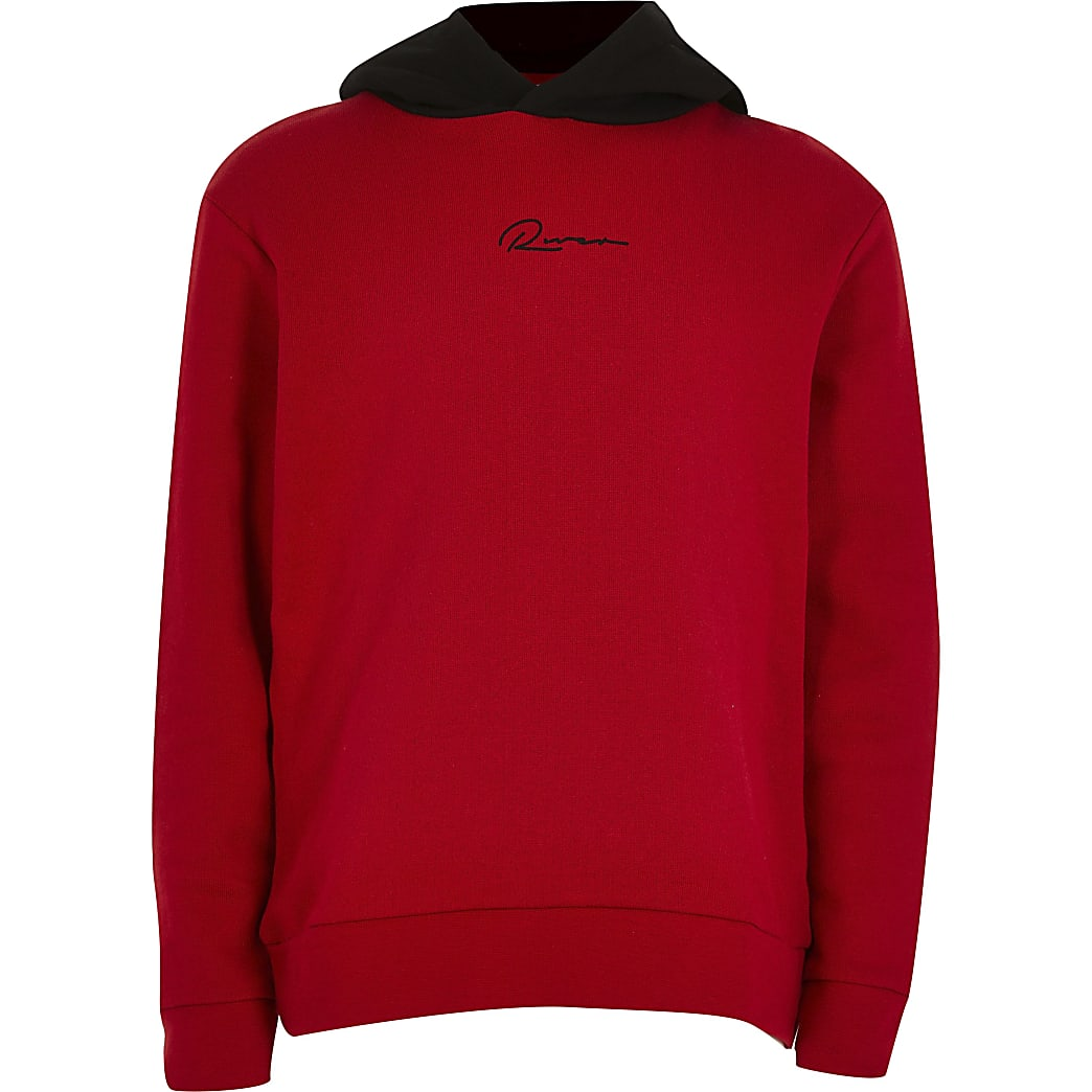 Age 13+ boys red 'River' hoodie