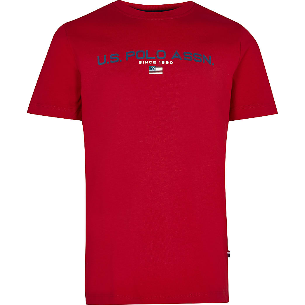 Age 13+ boys red USPA short sleeve t-shirt