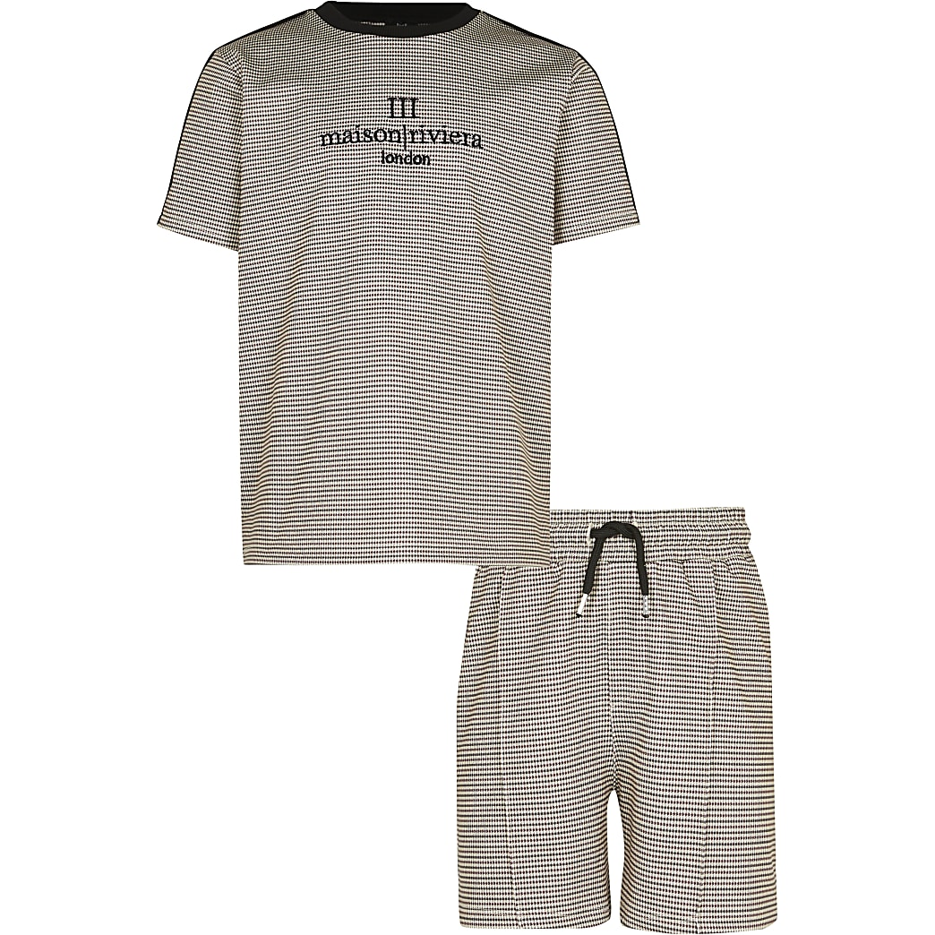 Age 13+ boys stone check 'Maison' outfit