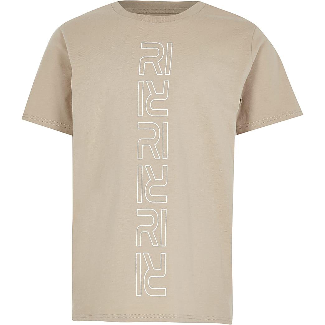 Age 13+ boys stone RI monogram t-shirt