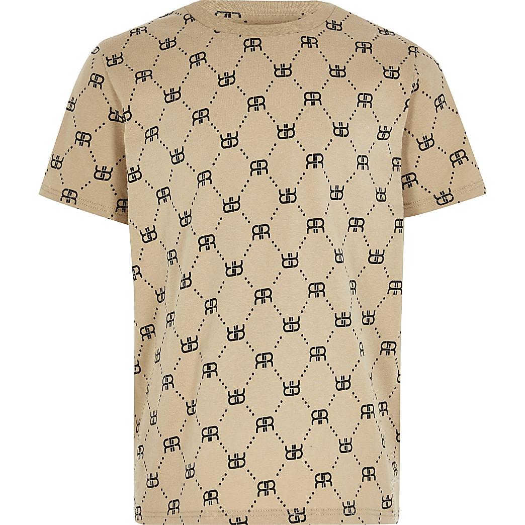 Age 13+ boys stone RR monogram print t-shirt