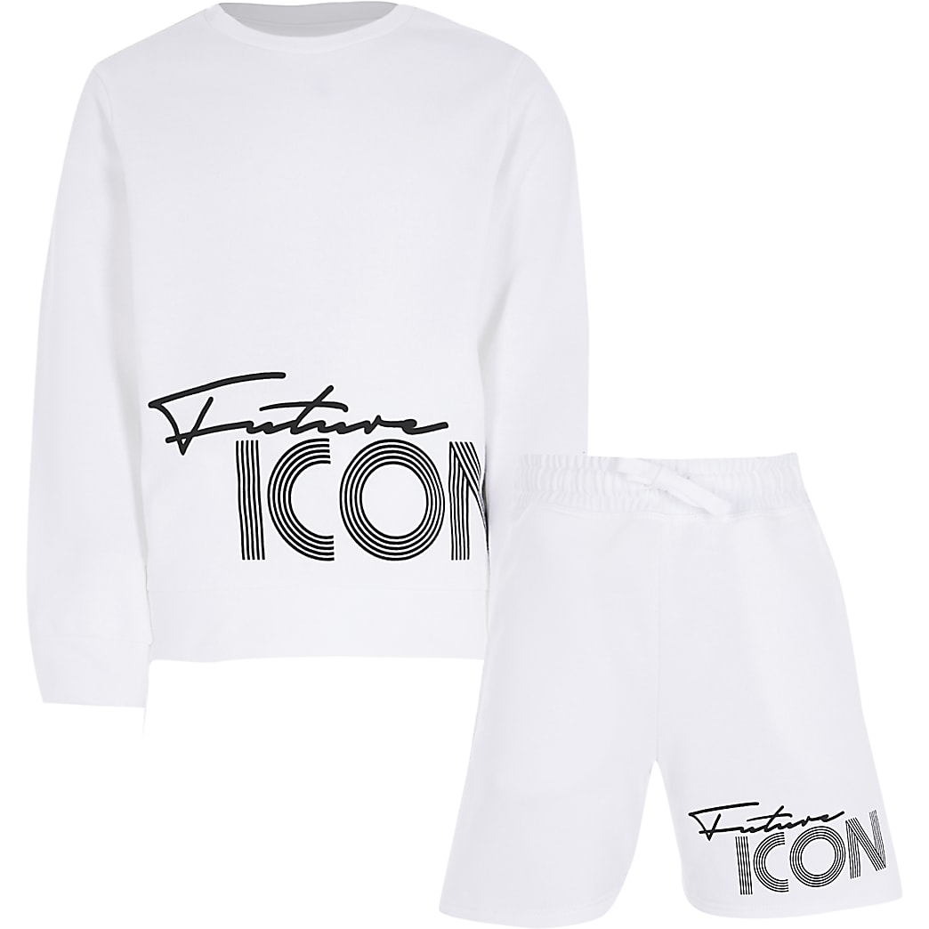Age 13+ boys white future icon shorts outfit