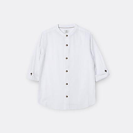 Age 13+ boys white long sleeve grandad shirt