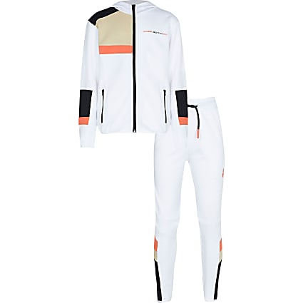 Age 13+ Boys white RI Active hoodie tracksuit