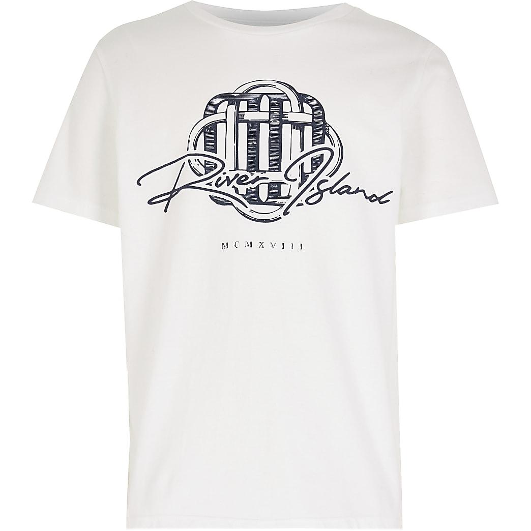 Age 13+ boys white RI print t-shirt
