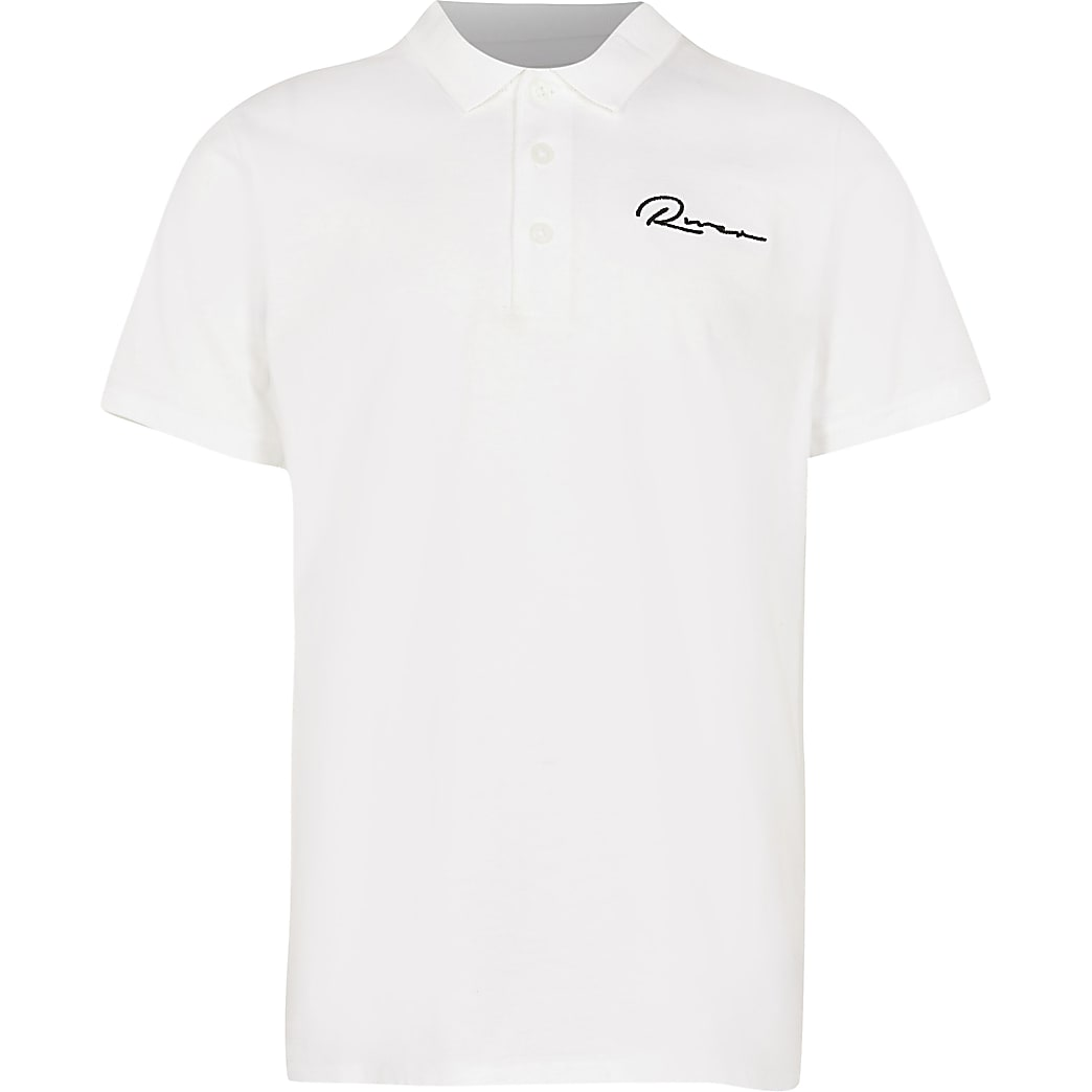 Age 13+ boys white 'River' polo shirt