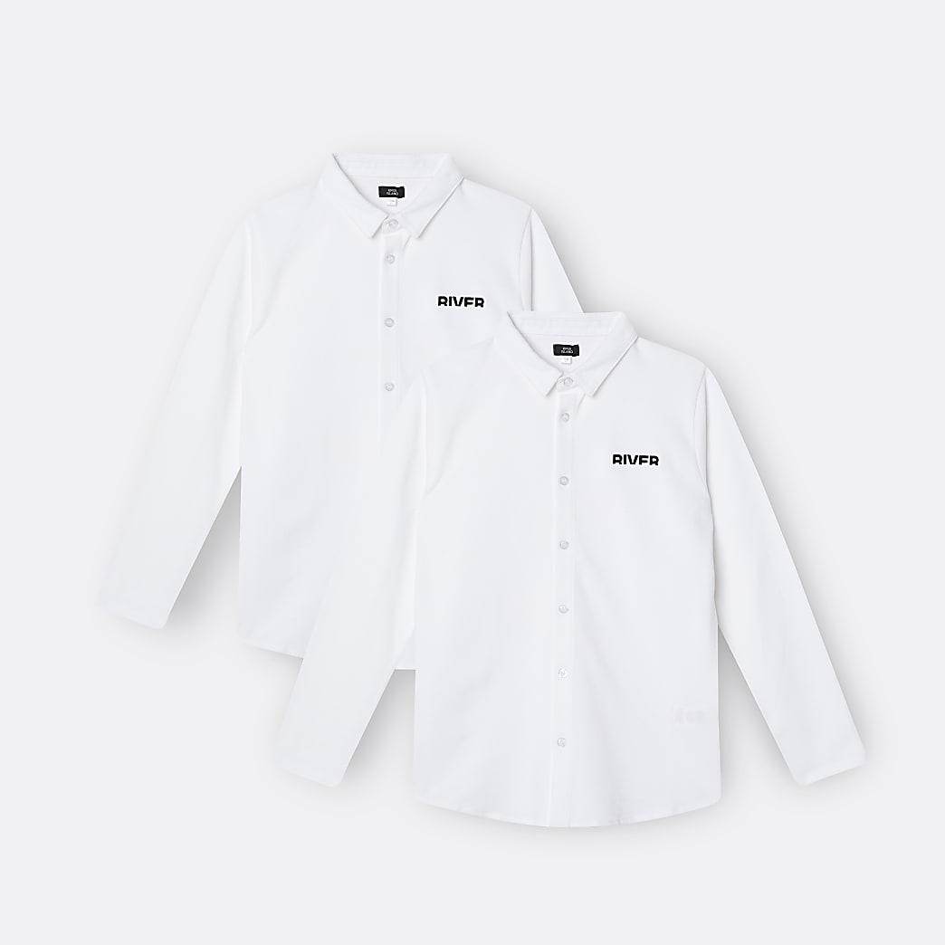 Age 13+ boys white River polo shirts 2 pack