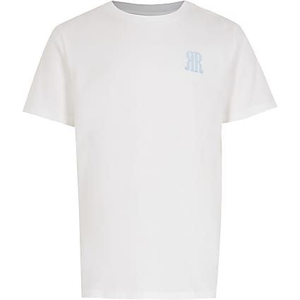Age 13+ boys white RR logo t-shirt