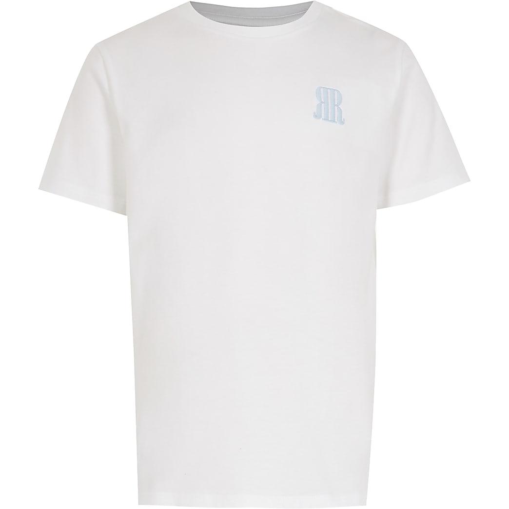 Age 13+ boys white RR logo t-shirt