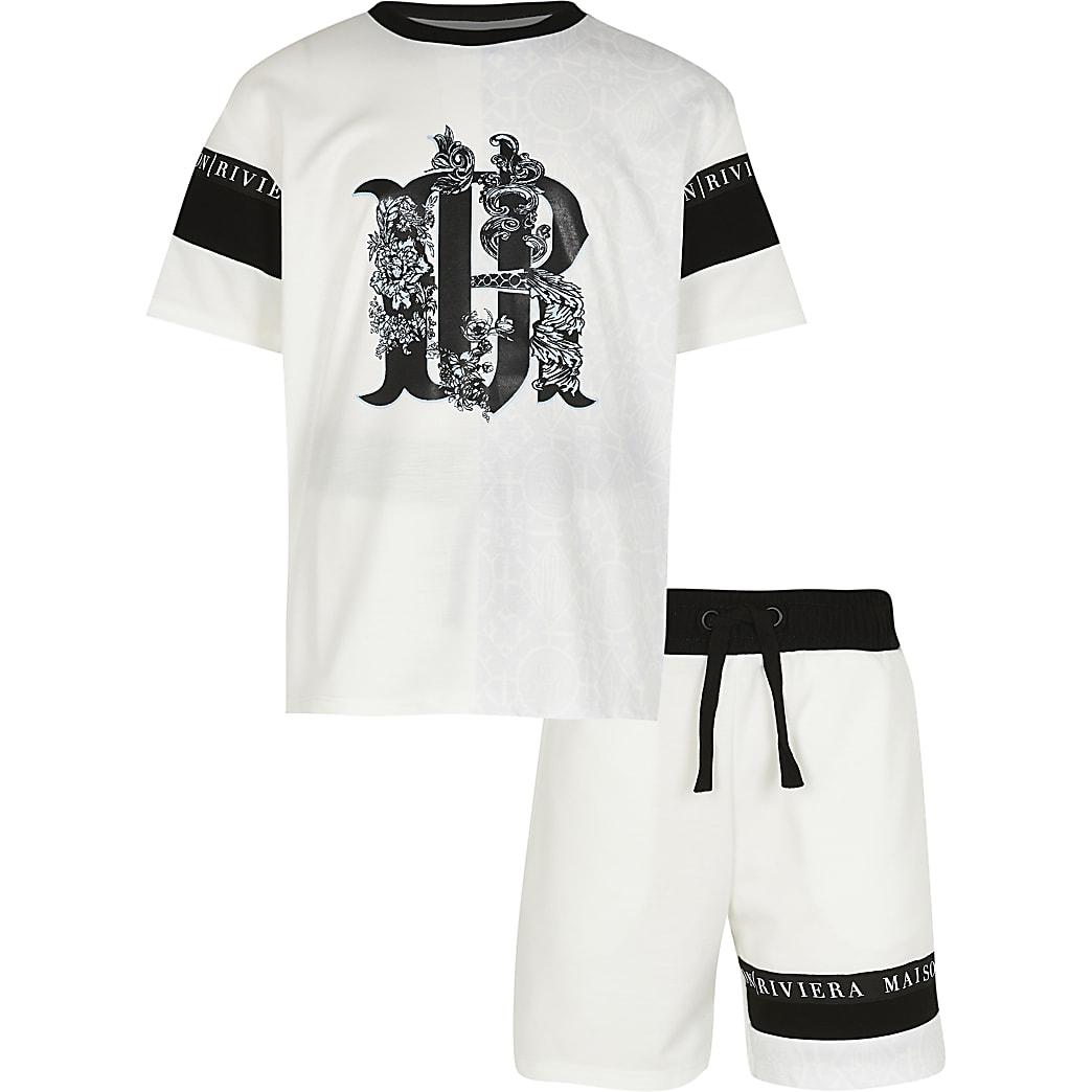 Age 13+ boys white RR t-shirt and shorts set