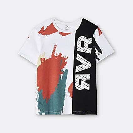 Age 13+ boys white RVR colour block t-shirt