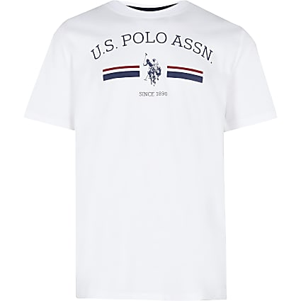 Age 13+ boys white USPA logo t-shirt