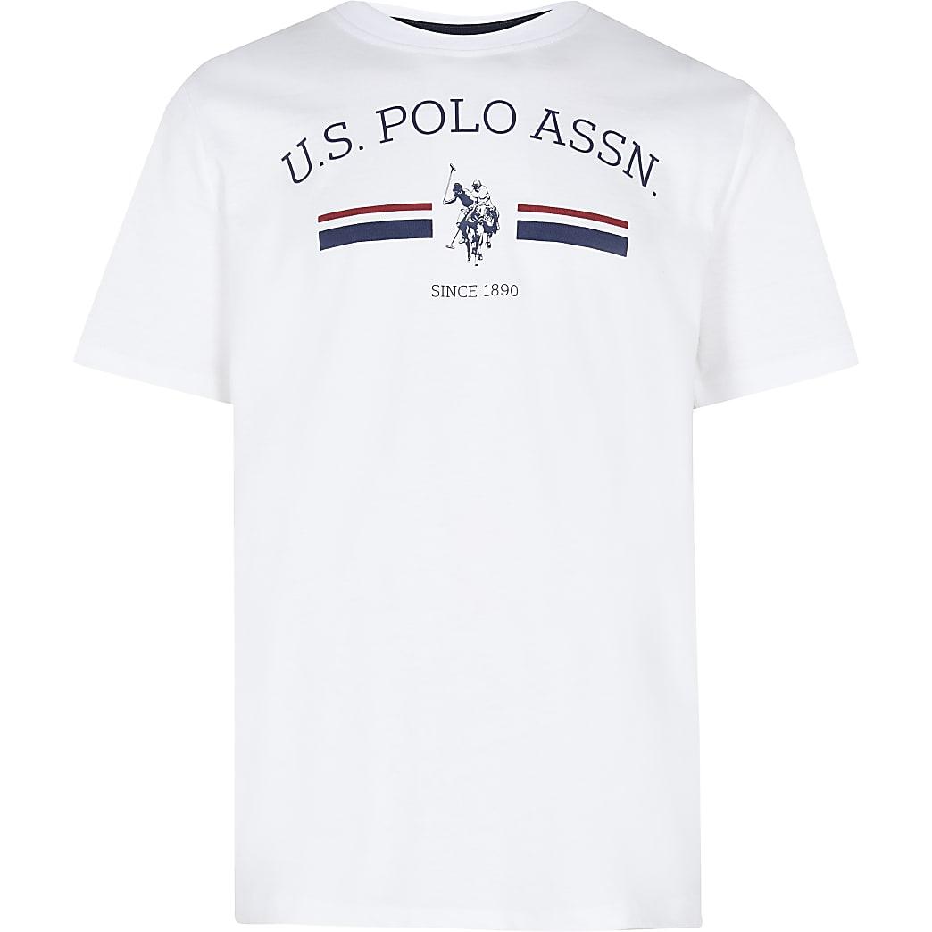 Age 13+ boys white USPA logo t-shirt