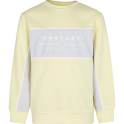 Age 13+ boys yellow colour block sweatshirt
