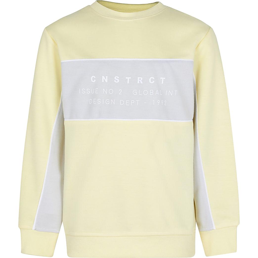 Age 13+ boys yellow colour block sweatshirt