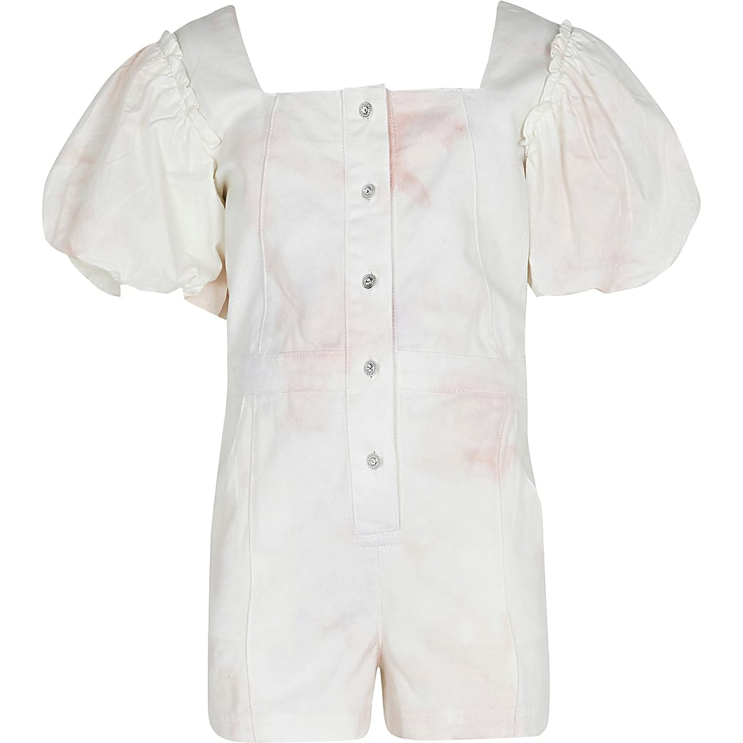 Age 13+ cream denim puff sleeve playsuit